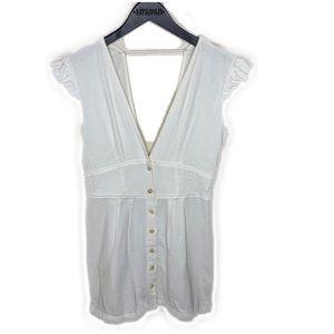 Free People White cream button down low cut dress